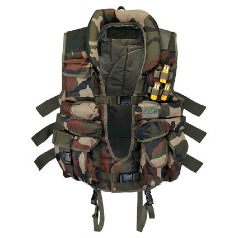 Tactical vest con inserti in camoscio woodland